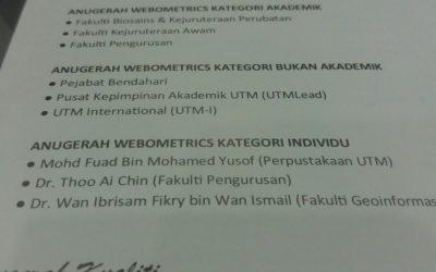 Finalist Anugerah Webometrics kategori Bukan Akademik